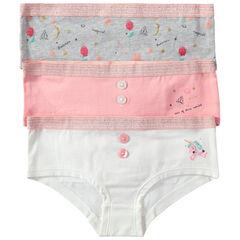 Pack de 3 culottes de algodón con botones de fantasía y estampados