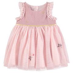 Vestido rosa de fiesta de dos materiales con tul y volantes
