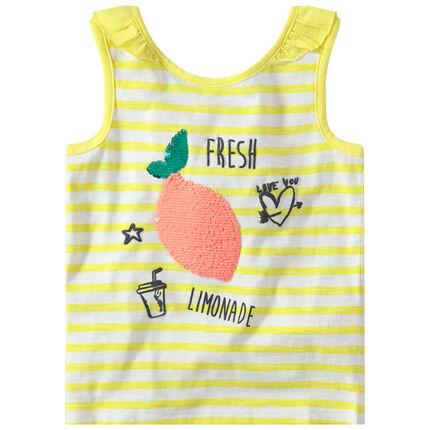 Camiseta de punto de rayas con fruta de lentejuelas mágicas