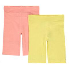 Júnior - Pack de 2 pantalones de ciclista lisos con logo estampado