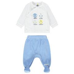 Pijama de terciopelo bicolor con estampados de Smiley