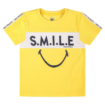 Camiseta de manga corta con inscripciones y ©Smiley estampados