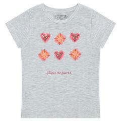 Camiseta de punto de manga corta con flores y abalorios de fantasía