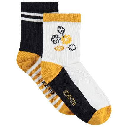 Juego de 2 pares de calcetines a juego con flores/rayas de jacquard