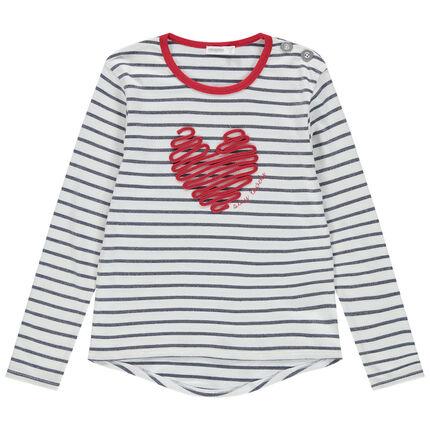 Sudadera de felpa fina de rayas con corazón de cuerda