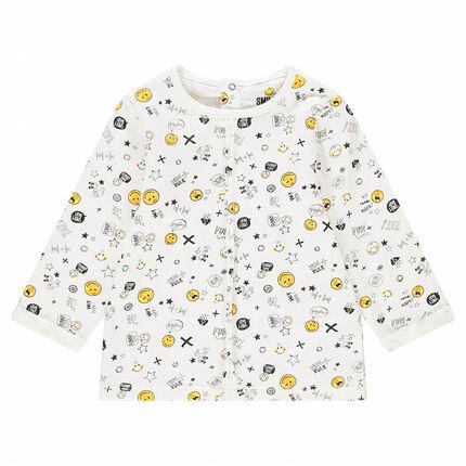 Camiseta de manga larga de punto con ©Smiley estampado all-over