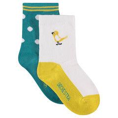 Juego de 2 pares de calcetines variados con lunares de jácquard