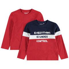 Juego de 2 camisetas de manga larga lisa/tricolor con mensaje estampado