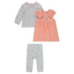 Conjunto de 3 piezas de camiseta con estampado, vestido de terciopelo y legging