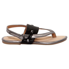 Sandalias tipo chanclas negras y plateadas