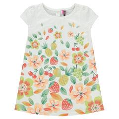 Vestido de manga corta con estampado de frutas y flores