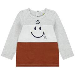 Camiseta de manga larga tricolor estampado Smiley