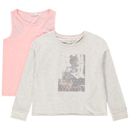 Sudadera de felpa con solapas cruzadas en la espalda y camiseta lisa