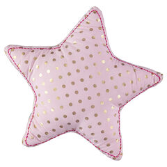 Cojín con forma de estrella y lunares dorados all over