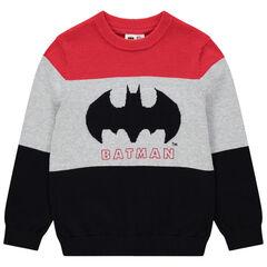 Pull en tricot tricolore motif Batman en jacquard pour enfant garçon , Orchestra