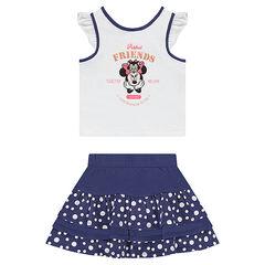 Conjunto de camiseta ©Disney estampado Minnie y falda con volantes