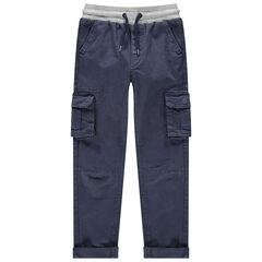 Pantalón cargo teñido con cintura elástica