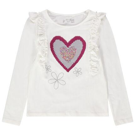 Camiseta de manga corta con volantes y corazón de lentejuelas mágicas
