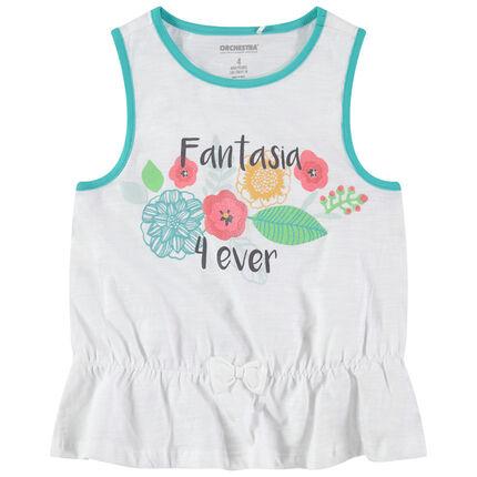 Camiseta de punto slub con flores brillantes estampadas
