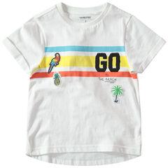 Camiseta de manga corta con bandas que contrastan y parches de estilo tropical