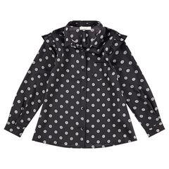 Camisa de manga larga de algodón con lunares all over  y bolsillos