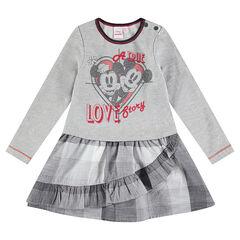 Vestido con efecto 2 en 1 con estampado de Mickey & Minnie ©Disney