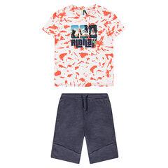 Júnior - Conjunto con camiseta estampada estilo shibori y bermudas de felpa jaspeada