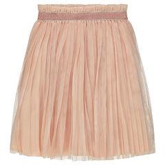 Falda plisada de tul con elástico brillante