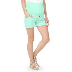 Pantalón corto de embarazo de sarga con encaje y banda alta
