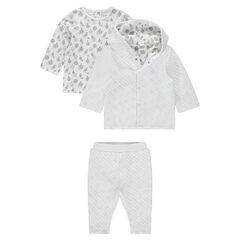 Conjunto de 3 piezas con chaqueta, camiseta estampada y pantalón