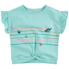 Camiseta de manga corta con volantes y rayas con mariposas estampadas de lentejuelas