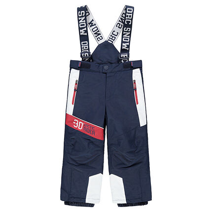 Pantalón de esquí impermeable con tirantes desmontables y bolsillos con cremallera