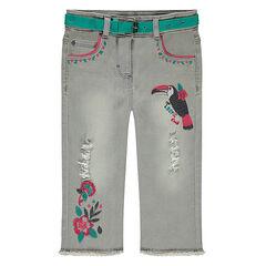 Pantalón corto vaquero con desgastado y bordados de colores
