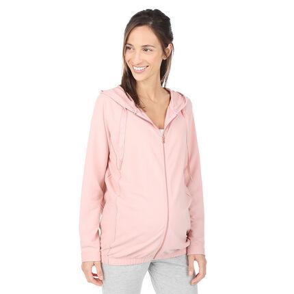 Chaqueta con capucha de premamá de felpa rosa