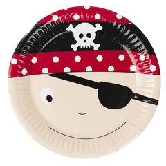 x 10 platos de cumpleaños de cartón con dibujo de pirata , Prémaman