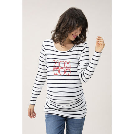 Camiseta de premamá con manga larga y mensaje de lentejuelas