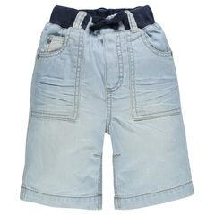 Bermuda de jean cintura elástica