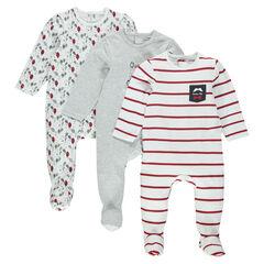 Lote de pijamas infantiles en jersey a rayas/liso/estampado.