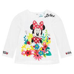 Camiseta de manga larga lisa Disney con Minnie y estampado de flores