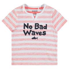 Camiseta de manga corta de punto con mensaje bordado