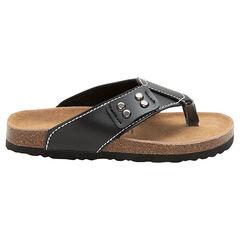 Sandalias con tira con efecto de cuero y suela de corcho