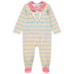 Pijama de terciopelo de rayas con cuello babero y conejo de relieve