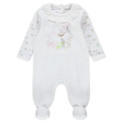 Pijama de terciopelo con cuello con volantes y dibujos bordados