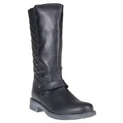 Botas de cuero de color negro con cremallera acolchada en la parte trasera