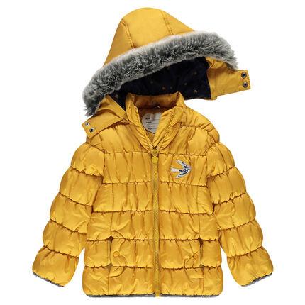 Anorak acolchado con capucha desmontable y parche de pájaro