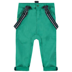 Pantalón de algodón verde con tirantes elásticos desmontables