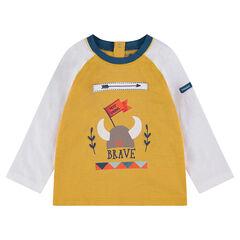 Camiseta bicolor de manga larga con estampado de casco de vikingo