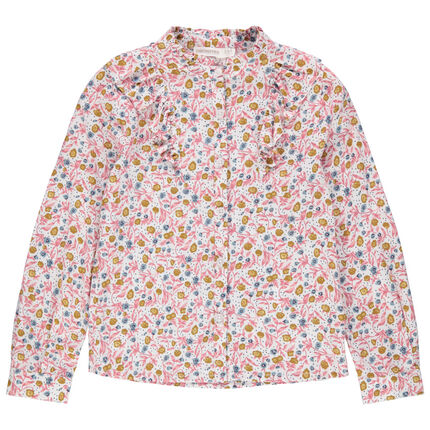 Camisa de manga larga con cuello de fantasía y estampado de flores all over