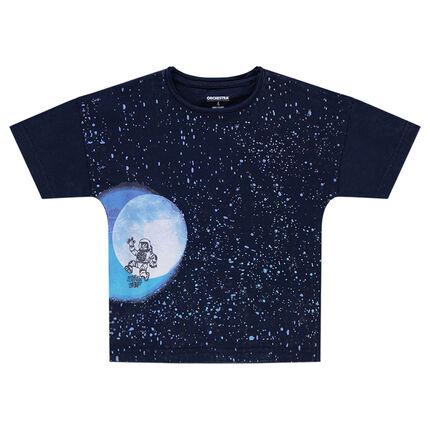 Camiseta de manga corta de forma cuadrada con estampado de galaxia
