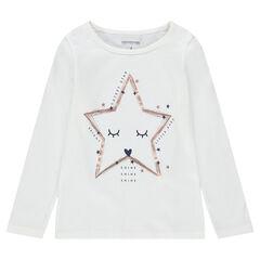 Camiseta de punto de manga larga con dibujo de fantasía estampado
